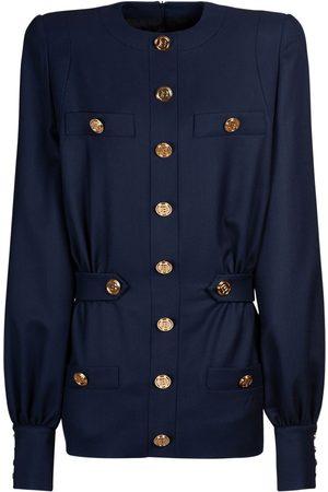 Balmain Wool Twill Buttoned Mini Dress