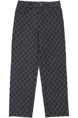 Gucci Gg Organic Cotton Denim Jacquard Pants