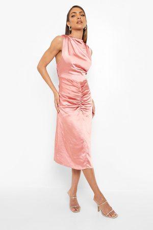 Boohoo Womens Satin Halterneck Gathered Midi Dress - - 4