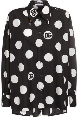 Dolce & Gabbana Poplin Printed Polka Dots Logo Shirt