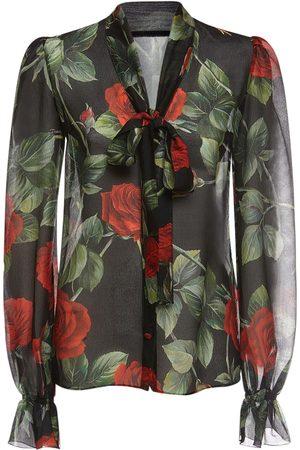 Dolce & Gabbana Chiffon Printed Shirt W/bow