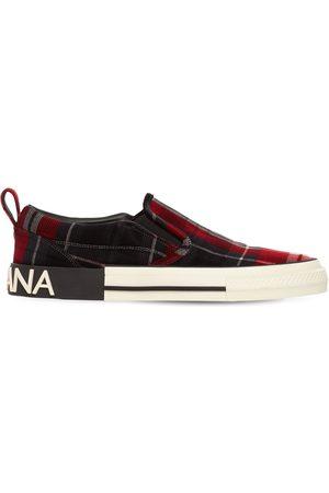 Dolce & Gabbana Tartan Velvet Slip-on Sneakers