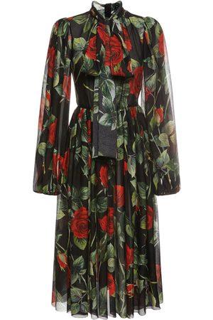 Dolce & Gabbana Women Printed Dresses - Printed Chiffon Midi Dress W/bow