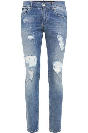 Dolce & Gabbana Men Jeans - Logo Plaque Destroyed Denim Jeans