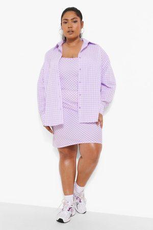 Boohoo Womens Plus Gingham Mini Dress And Shirt Co-Ord - - 12