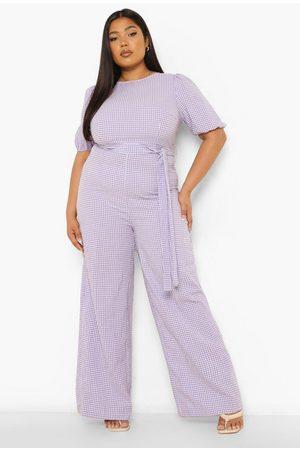 Boohoo Womens Plus Gingham Tie Waist Wide Leg Jumpsuit - - 12