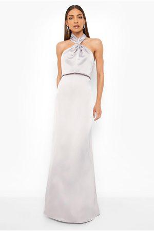 Boohoo Womens Satin Halterneck Twist Maxi Bridesmaid Dress - - 4