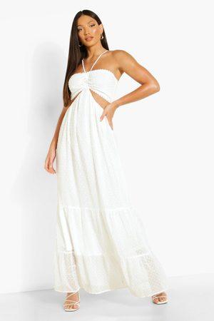 Boohoo Womens Tall Halter Cut Out Dobby Maxi Dress - - 4
