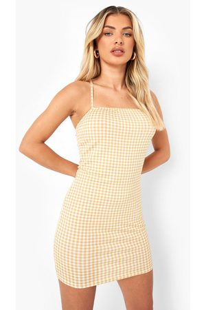 Boohoo Womens Short Sleeve Top & Gingham Slip Mini Dress - - 4