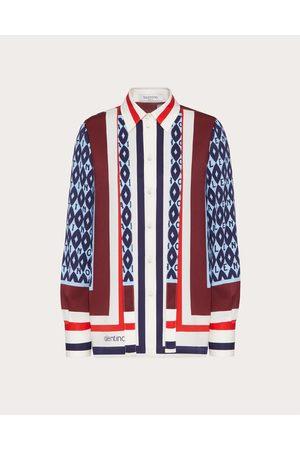 VALENTINO Printed Twill Shirt Women Light / 100% Silk 36