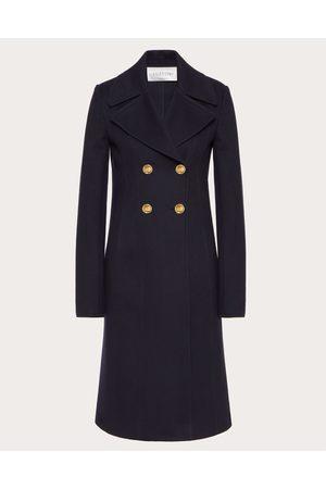 VALENTINO Compact Drap Coat Women Navy 90% Virgin Wool 10% Cashmere 36