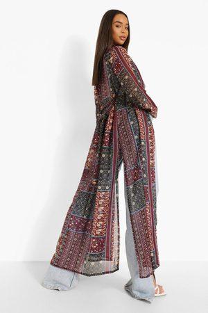 Boohoo Womens Boho Printed Belted Kimono - - 2