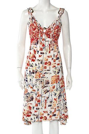 Roberto Cavalli Printed Jersey Plunging Neck Sleeveless Dress M