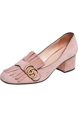 Gucci Light Suede GG Marmont Fringe Block Heel Pumps Size 38.5
