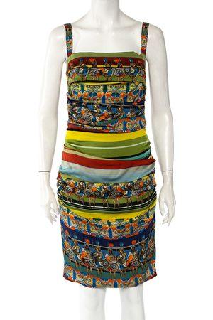 Dolce & Gabbana Sicilian Warrior Stripe Printed Silk Ruched Sleeveless Mini Dress L