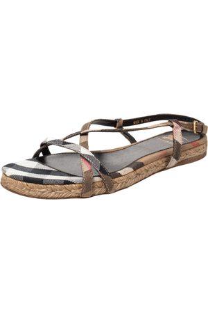 Burberry Women Espadrilles - Check Canvas Espadrille Flat Slingback Sandals Size 38