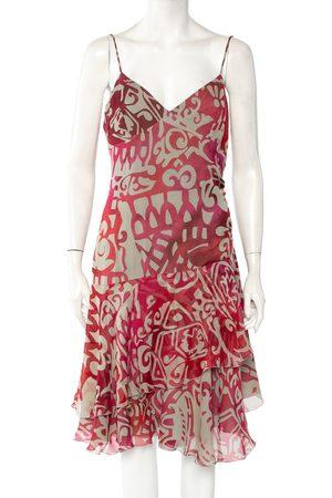 Armani Beige & Printed Silk Ruffled Sleeveless Midi Dress XL