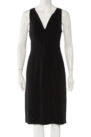Armani Crepe Quilted Waist Detail Sleeveless Midi Dress L
