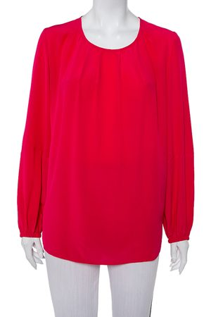 Stella McCartney Women Long sleeves - Silk Pleated Neck Detail Long Sleeve Top S