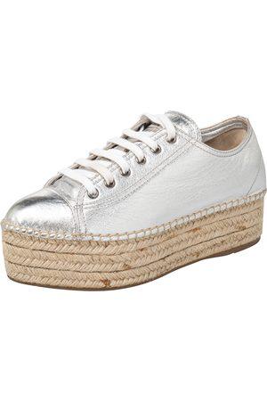 Miu Miu Metallic Leather Espadrille Sneakers Size 38