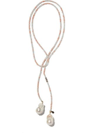 Joie DiGiovanni Aquamarine and Opal Classic Gemstone Lariat w/ Diamond Accent