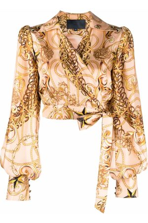 Philipp Plein Women Wrap tops - New-baroque wrap silk blouse - Neutrals