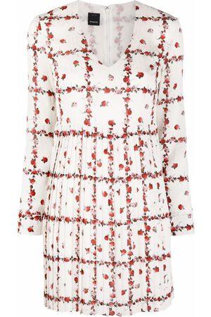 Pinko Rose-print pleated minidress