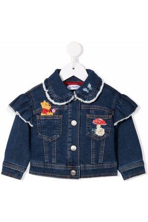 Monnalisa Bomber Jackets - Winnie-the-Pooh embroidered denim jacket