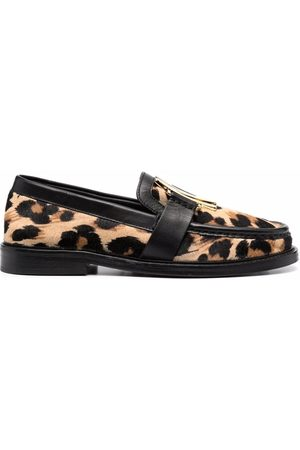 Moschino Women Loafers - M leopard print logo loafers