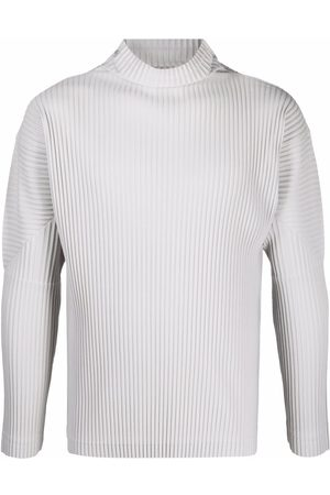 Homme Plissé Issey Miyake Pleated roll neck jumper - Grey