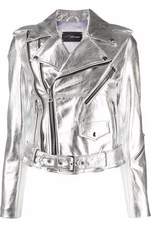 Manokhi Women Leather Jackets - Metallic leather jacket