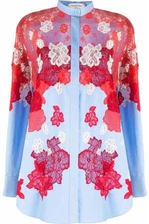 VALENTINO Floral-lace panel shirt