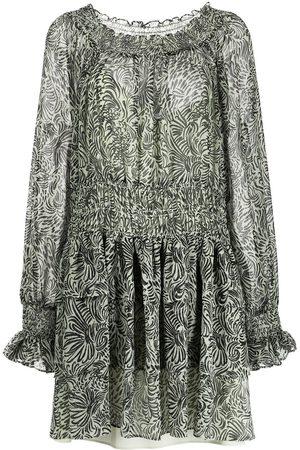 Cinq A Sept Floral-print bell-sleeve dress