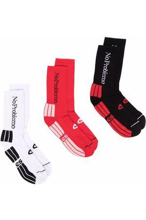 ARIES Slogan-embroidered set of socks