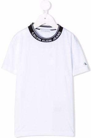 Calvin Klein Kids Logo-embroidered cotton T-shirt