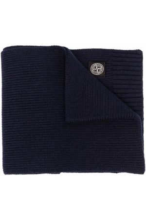 Stone Island Junior Logo-patch knit scarf