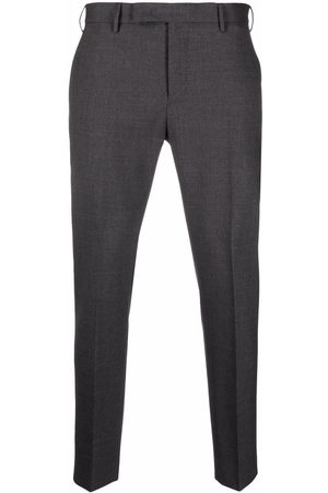 PT01 Pressed-crease charm-detail tailored trousers - Grey