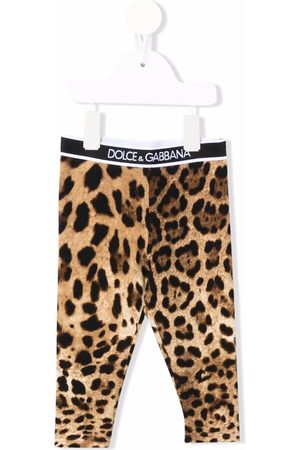 Dolce & Gabbana Baby Leggings - Logo-waistband leopard-print leggings - Neutrals