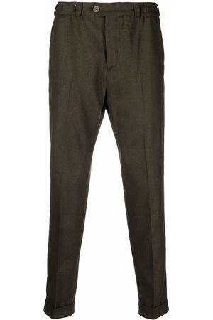 Pt01 Pressed-crease turn-up hem tailored trousers