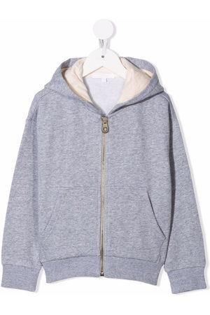 Chloé Kids Logo-embroidered hoodie - Grey