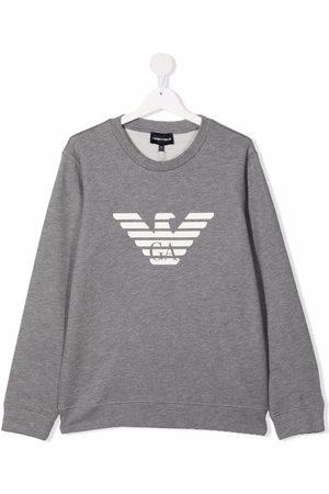 Emporio Armani Kids TEEN eagle logo-print sweatshirt - Grey