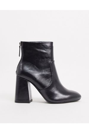 Pull&Bear Faux leather heeled ankle boot in