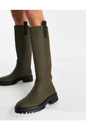 Pull&Bear Women Thigh High Boots - Knee high boot in khaki