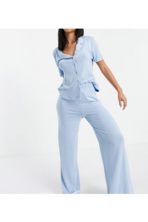 Missguided Women Pajamas - Long pajama set with piping in blue