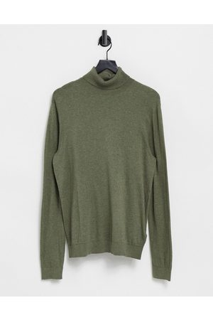 Topman Organic essential roll neck knitted sweater in olive