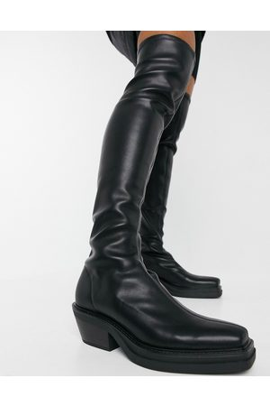 Pull&Bear Pull on stretch high leg boots in