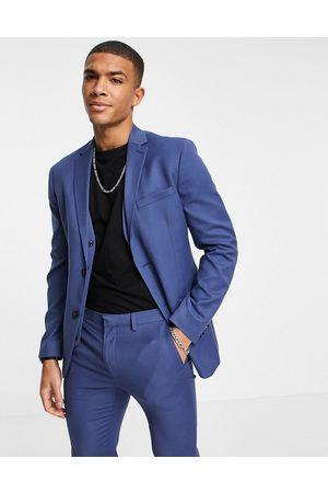 Topman Men Blazers - Skinny single breasted suit jacket in blue