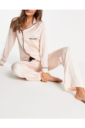 Bluebella Abigail satin revere top & pants pajama set in