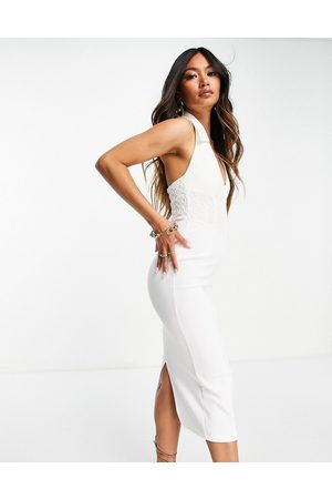 ASOS Sleeveless shirt midi pencil dress with corseted lace waist in
