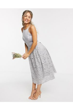 Oasis Bridesmaid lace skater dress in -Grey